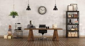 Retro bureau met uitstekend meubilair vector illustratie