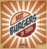 Retro burger sign. Vintage poster template for fast food restaurant Stock Image