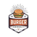 Retro- Burgergelenk Schnellimbissillustration der Weinlese Logocheeseburgerdesign lizenzfreie abbildung