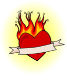 Retro burning heart Royalty Free Stock Photo