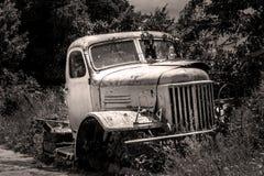 Retro Bus. Broken retro buss on the street Stock Photography