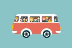 Retro bus con i passeggeri Fotografia Stock Libera da Diritti