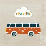 Retro bus concept paper vintage card. Flat design stock illustration