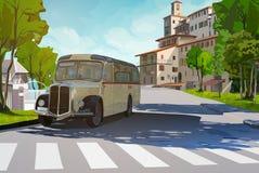 Retro bus in de stad royalty-vrije illustratie