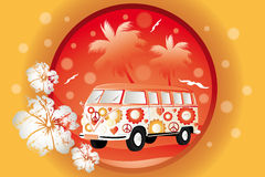 Retro bus with floral patterns. On orange background with palm trees stock illustration