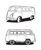 Retro bus, het kamperen auto Mening vanuit verschillende invalshoeken Vector zwart-witte illustraties royalty-vrije illustratie