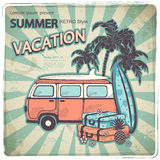 Retro bus illustration Stock Photo