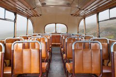 Retro bus. Interior of a vintage retro style bus Royalty Free Stock Images