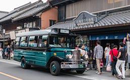 Retro bus in Kawagoe town. Kawagoe, Japan - May 1, 2016: Retro bus for Tourists in Kawagoe town. Kawagoe is a city in Saitama Prefecture, in the central Kanto Stock Images