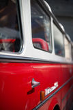 Retro bus with passenger seats. Stock Photos