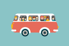 Retro bus with passengers. Royalty Free Stock Photography