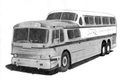 Retro bus, pencil drawing Royalty Free Stock Photo