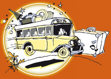 Retro Bus on the road Royalty Free Stock Photos