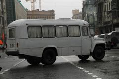 Retro the bus on streets of Moscow in day of procession of communists Royalty Free Stock Photos