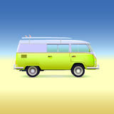 Retro bus with surf boards Royalty Free Stock Images