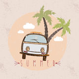 Retro bus with surfboard grunge vector design Stock Image