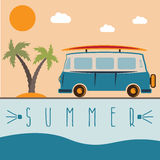 Retro bus with surfboard vector design Royalty Free Stock Photography