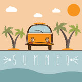 Retro bus with surfboard vector design Royalty Free Stock Images
