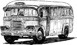 Retro bus. Vector drawing of the old passenger regular bus Royalty Free Stock Photos