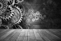 Retro Business Cogs Technology Background Stock Photography