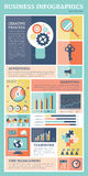 Retro business flat icons infographics vector set. Royalty Free Stock Photography