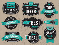 Retro business labels and badges. Set of vector retro retail labels and badges stock illustration
