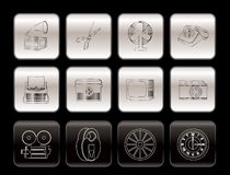 Retro business and office object icons. Icon set vector illustration
