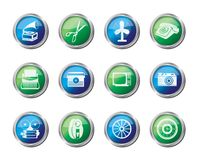 Retro business and office object icons over colored background. Vector icon set vector illustration