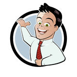 Retro businessman button Stock Image