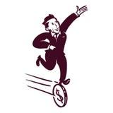 Retro businessman. Retro commercial art. vector graphic of businessman run over the money dollar coin Stock Photo