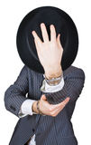 Retro businessman hide face Royalty Free Stock Photography