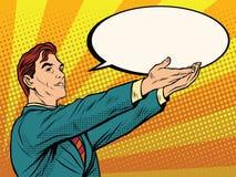 Retro businessman holding a comic bubble royalty free illustration