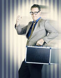 Retro businessman running in competition race Royalty Free Stock Photos