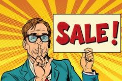 Retro businessman secret sale Royalty Free Stock Photo