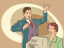Retro businessman Secretary dictates the text Royalty Free Stock Images