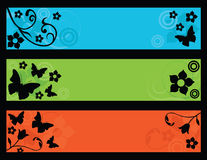 Retro butterflies and flower banners Royalty Free Stock Photos