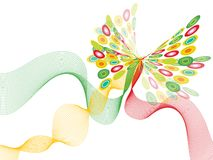 Retro butterfly twist white Royalty Free Stock Images