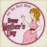 Retro Button to Commemorate Mother's Day, Vector Illustration Stock Photos
