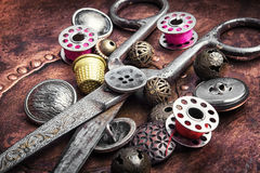 Retro buttons and threads royalty free stock photography
