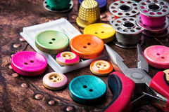 Retro buttons and threads stock images
