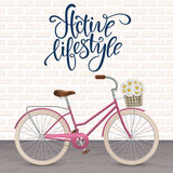 Retro bycicle with basket of flowers. Healthy lifestyle, fitness. Royalty Free Stock Photos