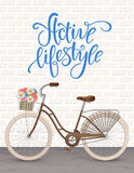 Retro bycicle with basket of flowers. Healthy lifestyle, fitness. Stock Image