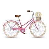 Retro bycicle med korgen av blommor Sund livsstil, kondition Arkivfoton