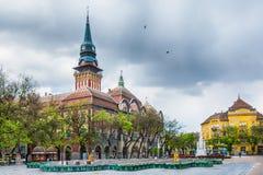 Retro byggnad av stadshuset i den Subotica staden, Serbien royaltyfri bild