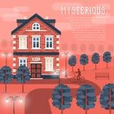 Retro byggnad för mystiker på skymning royaltyfri illustrationer