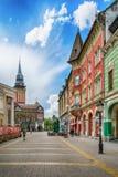Retro byggnad i den Subotica staden, Serbien Fotografering för Bildbyråer