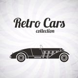 Retro cabriolet sport car, vintage collection. Classic garage sign, vector illustration background, can be used for design, infographics Stock Images