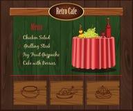 Retro- Caféschablone Lizenzfreies Stockbild