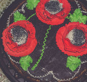 Retro Cake Decorated with Poppies Stock Images