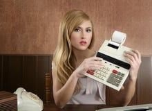 Retro calcolatore dell'annata della segretaria del ragioniere Fotografie Stock Libere da Diritti